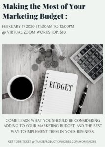 Making the Most of Your Marketing Budget Workshop @ Virtual Workshop, Zoom